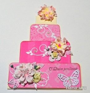 Открытка ко Дню рождения для девочки «Тортик»