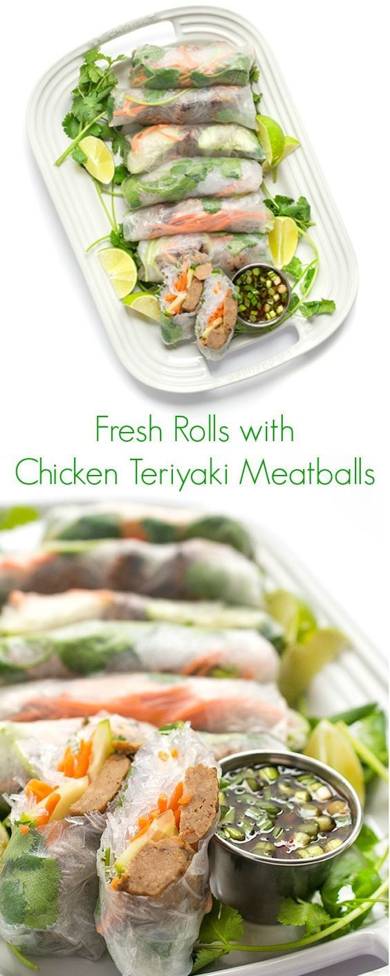 Fresh Rolls with Chicken Teriyaki Meatballs -  An easy, healthy and delicious appetizer perfect for large crowds and dinner parties! - The Lemon Bowl