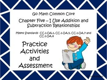 This is the fifth of my new series of activities. It includes activities for each of the lessons for Go Math Common Core First Grade chapter five. There is also an assessment covering all the skills taught in this chapter.The activities include:Solving with modelsFact familiesRelated factsUsing addition to check subtractionIdentifying common missing numberIdentifying missing fact family numberWord ProblemsWays to make a numberIdentifying equal number sentencesSolving addition or subtraction…