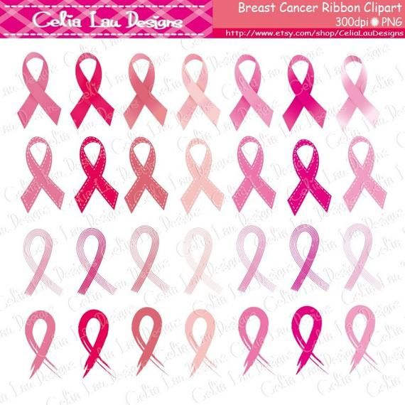96cf9fbf927 Breast Cancer Ribbon Digital Clipart - Personal & Commercial Use ...