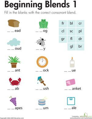 First Grade Phonics Spelling Worksheets: Beginning Blends 1