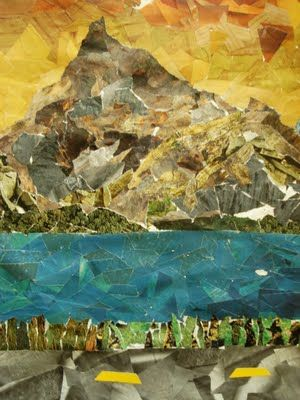 Landscapes from cut and torn magazine paper - This could work to recreate an impressionistic effect or perhaps Van gogh