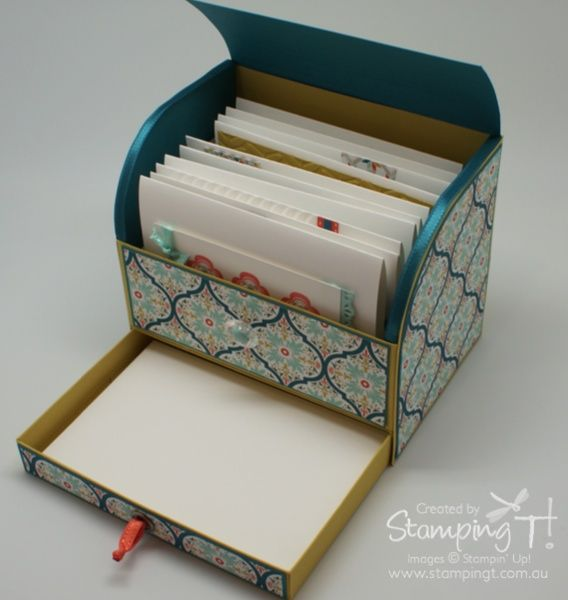 1/27/2013; Tanya Bell at 'Stamping T!' blog; Roller Top Card Box Open Drawer with link to tutorial