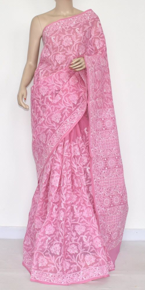 Onion All-over Hand Embroidered Lucknowi Chikankari Saree (With Blouse - Cotton) 14534