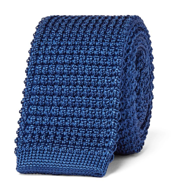 Impeccably crafted in Italy, <a href='http://www.mrporter.com/mens/Designers/Lanvin'>Lanvin</a>'s knitted silk tie will bring panache to casual looks. It's designed to fit neatly under your collar and has a pleasing blue hue. Try yours against a patterned shirt.