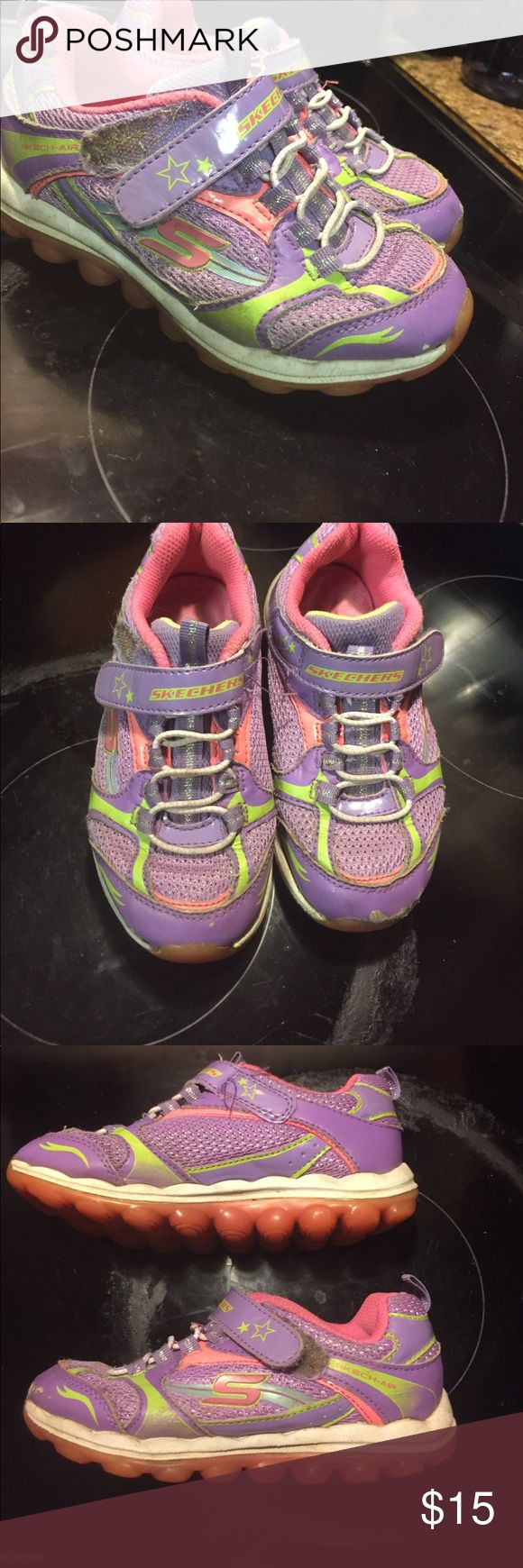 Girls purple/pink Skechers sz 11 Preowned but still in good condition. Very cute lil shoes for your lil girl Skechers Shoes Sneakers