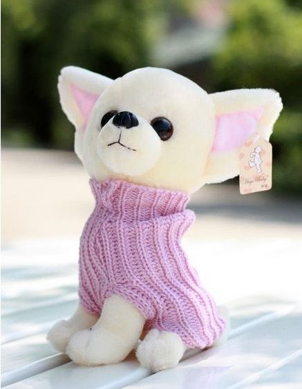 Кэндис го! горячие продажа супер симпатичные Чихуахуа носить розовый свитер плюшевые игрушки собака подарок на день рождения 20 см 1 шт.