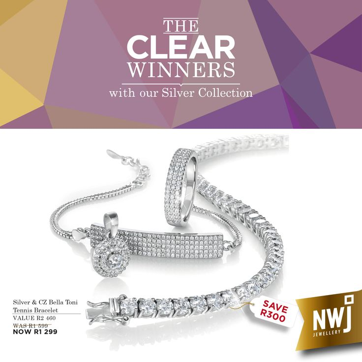 Welcome to the Clear Winners! Our Bella Toni Silver & CZ tennis bracelet is now R1299 (save R300), Silver and CZ pendant R199 (save R100), and our Silver and CZ ID bracelet and and ring set is now R999 (save R299).