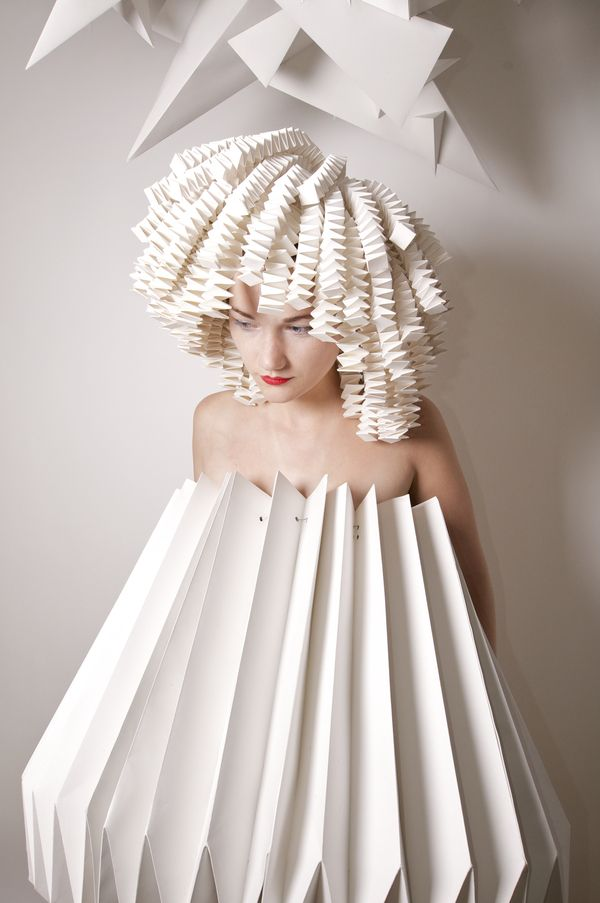 Architectural Fashion - 3D folded paper dress with a structural design using accordion pleats; wearable sculpture // Kiran Nelgen
