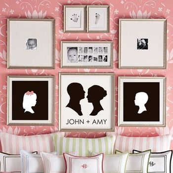 Couple Silhouette Print from lepapierstudio.com! I love the grouping of frames too, but my fav is the silhouette couple with the names.  I LOVE silhouettes!!  I might just need that!  #forMom  @lepapierstudio
