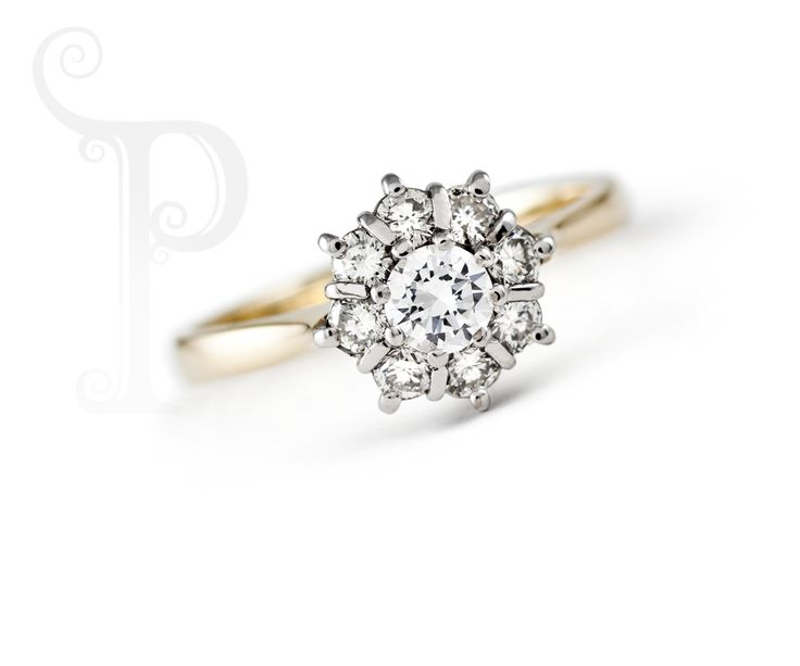 18ct Yellow & White Gold Classic Cluster Diamond ring