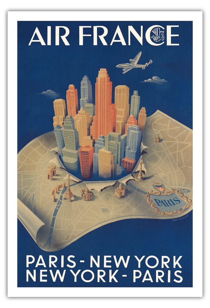 stunning parisnew york new yorkparis air france airline affiche vintage de with affiche cuisine. Black Bedroom Furniture Sets. Home Design Ideas
