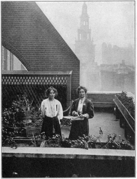MRS. PANKHURST AND CHRISTABEL HIDING FROM THE POLICE ON THE ROOF GARDEN AT CLEMENTS INN October, 1908
