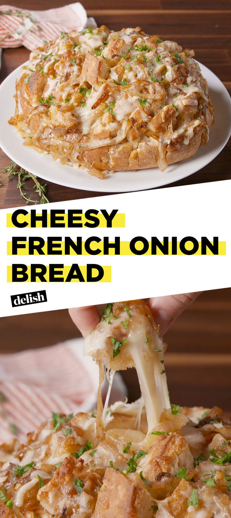 Cheesy French Onion Bread is like your favorite bowl of soup on crack. Get the recipe at Delish.com. #recipe #easyrecipe #frenchonionsoup #cheese #bread #soup #onion #veggies #beef #garlic #gruyere