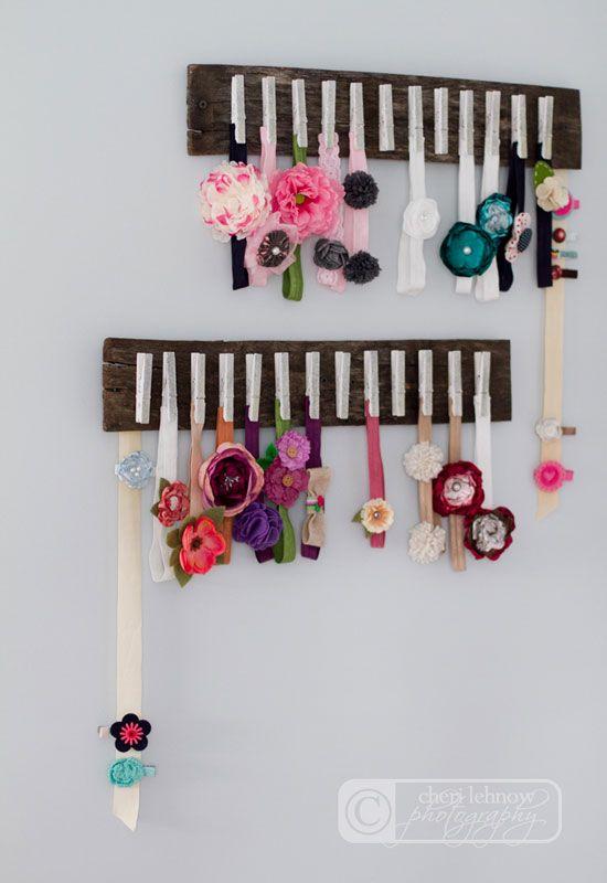 15 Ways to Organize Baby Clothes headband storage rack - Mommy Scene