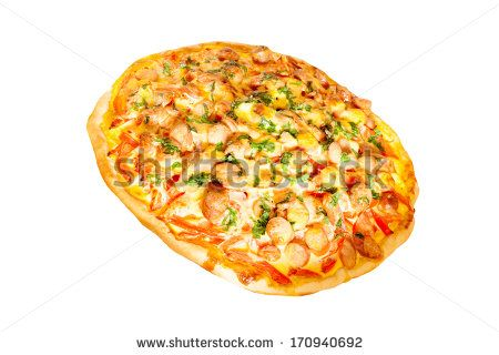 Pizza with wurst isolated on white background.