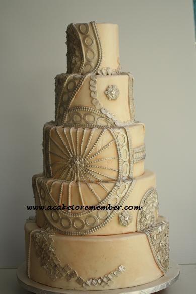 vintage wedding dress cake  ~ all edible and all hand made