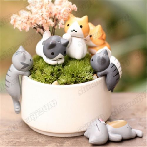 Game-Neko-Atsume-Cute-Cat-Flower-Pot-Micro-Landscape-6pcs-Set-Mini-Doll