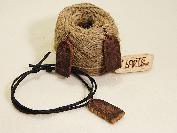 """Wooden earrings & necklace """"Cucuteni"""" culture by balintARTline on Etsy"""