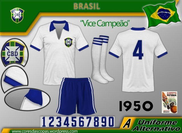 half off 55170 a412d Brazil away kit for the 1950 World Cup Finals. | Football ...