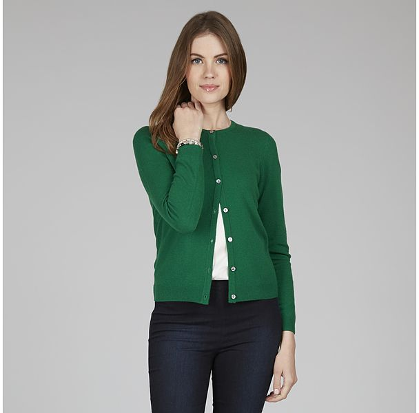 Womens dark emerald wool mix crew neck cardigan from Laura Ashley - £48 at ClothingByColour.com