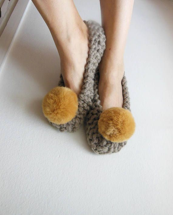 Super Chunky Wool Slippers Pale Brown Pom-Pom Slippers