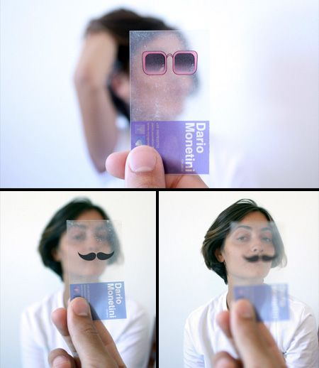 Unique and Creative Business Cards. Dario Monetini Business Cards- Transparent business cards with different objects that you can align with faces of your friends and take fun photographs.