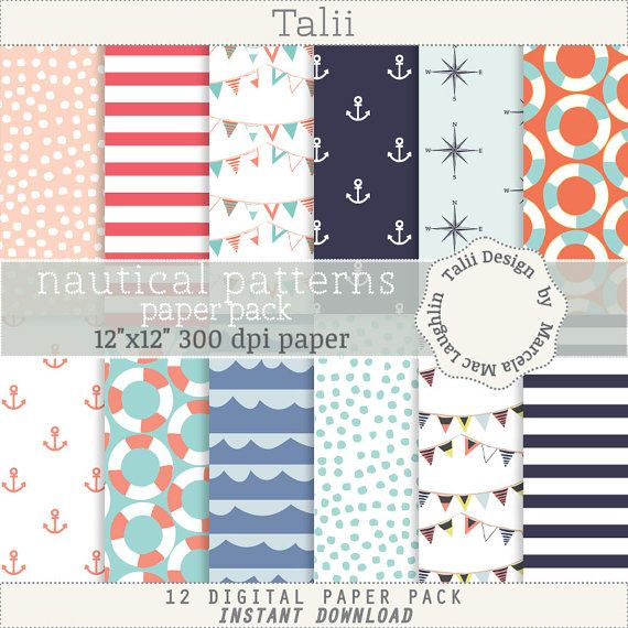 Nautical Digital Paper NAUTICAL PATTERNS- Navy backgrounds bunting flags anchors compass roses life savers red and navy blue stripes papers