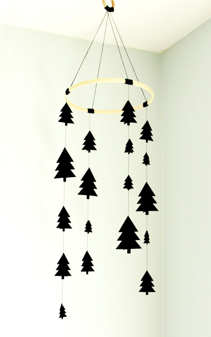 Tree mobile, woodland mobile, black tree mobile, scandinavian tree mobile…