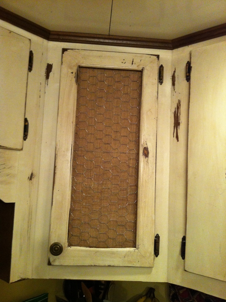 Cabinet With Chicken Wire And Burlap Design Ideas