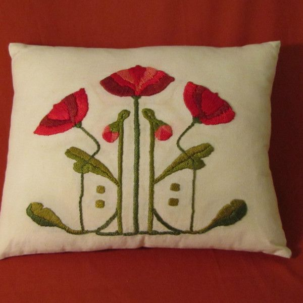 Modern Craftsman, Arts & Crafts Style, Hand Embroidery Poppy Pillow.  Made to order by Arts & Crafts Stitches   acstitches.com