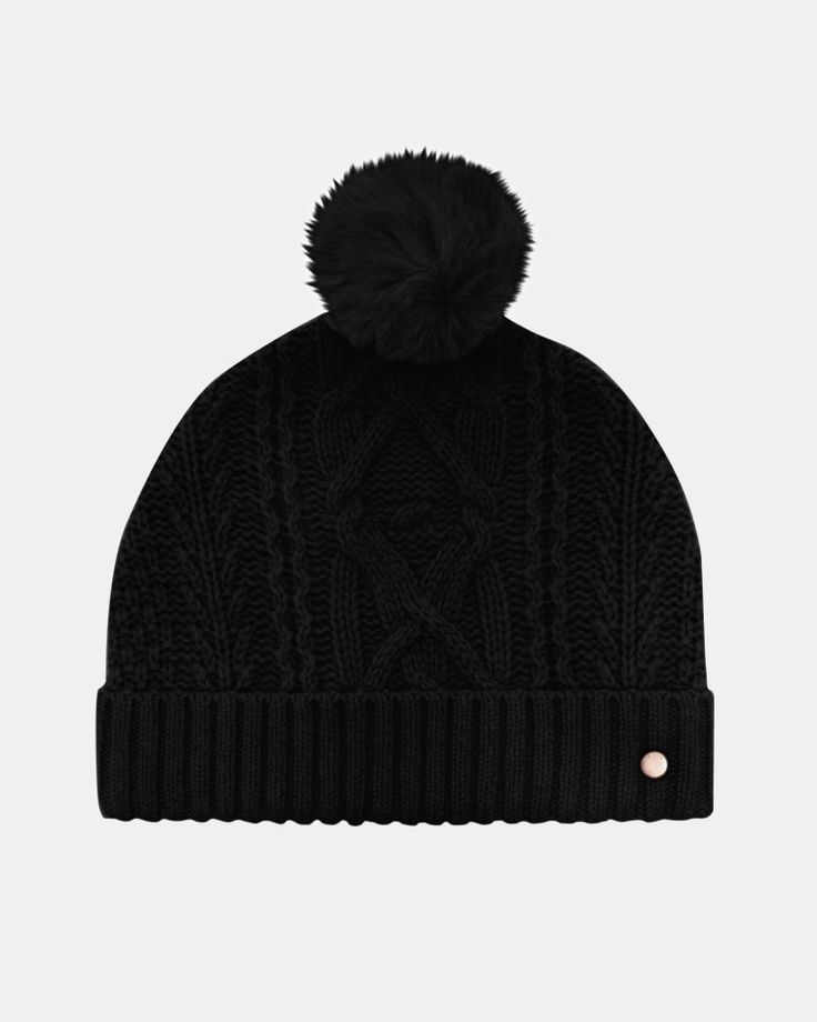 Cable knit wool-blend bobble hat - Black | Hats | Ted Baker UK