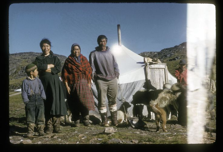 Men and women standing outside with huskies. (item 1)