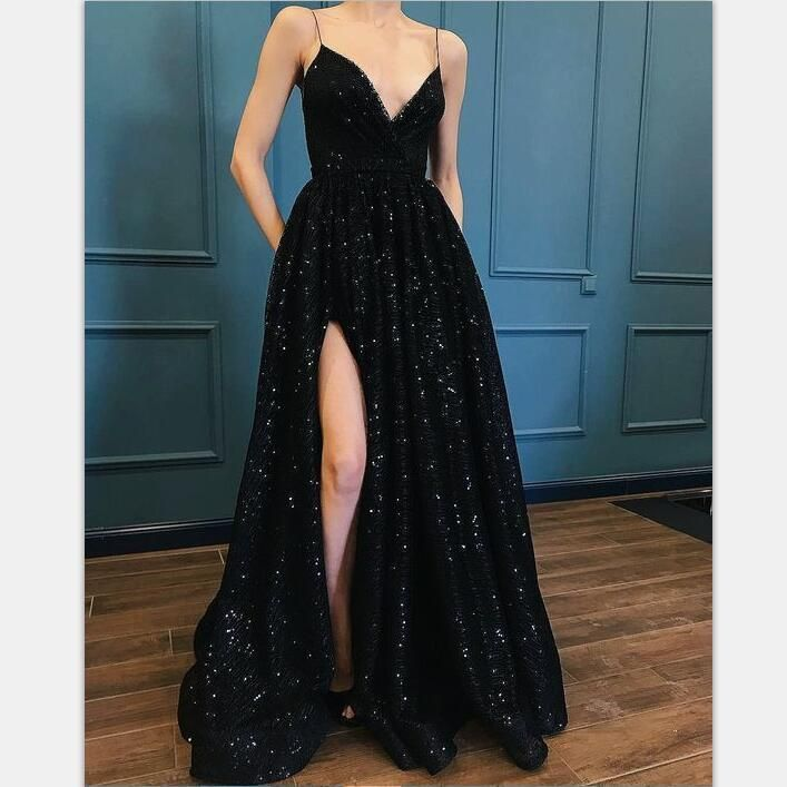Incredibly Black Glitter Spaghetti Straps V Neck Prom Dresses With Split Simple Sequins Eve…