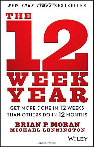 Get more done in a 12 week year- The point Moran makes in The 12-Week Year is that when you condense a project into short-term, immediate goals, you'll experience a dramatic growth in productivity. All of this is accomplished by chunking down your goals into 12-week sprints and then creating a series of milestones that push you along the way.
