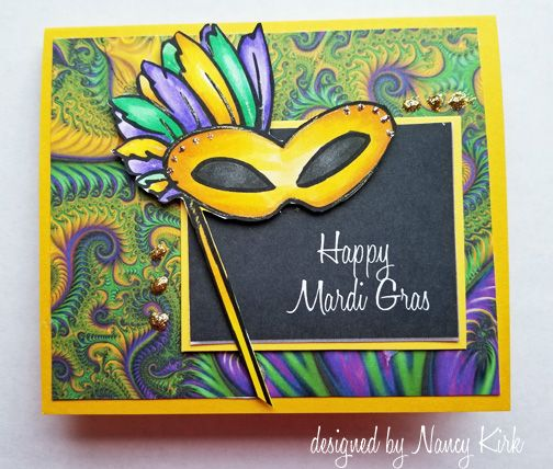 Mask digital stamp used to create this mardi gras card.  Colored with copics.