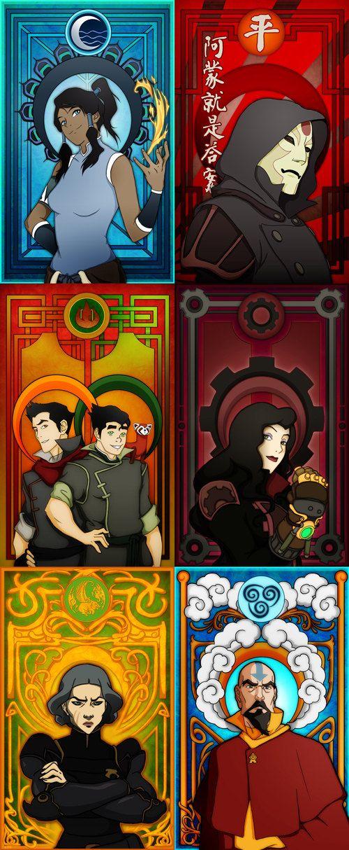 Geeky Art Nouveau posters. Legend of Korra characters - Korra, Amon, Mako & Bolin, Asami, Lin and/or Tenzin.