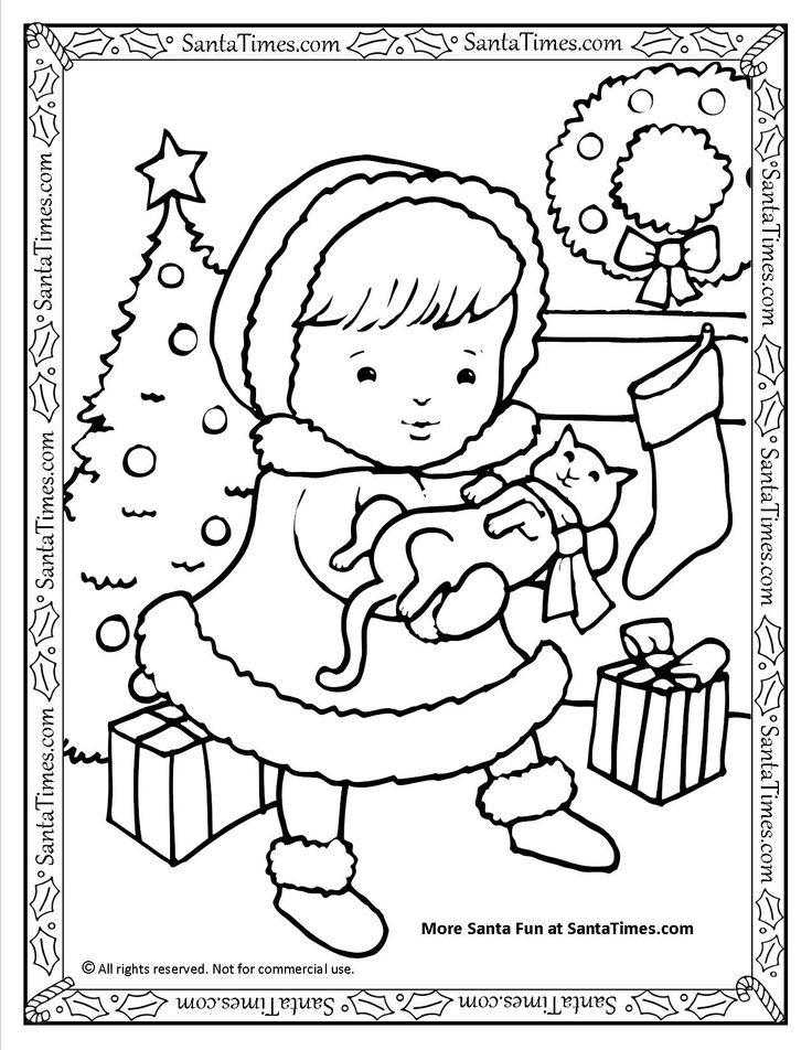 Merry Christmas Kitty Printable Coloring Page More Fun Activities And Pages At SantaTimes