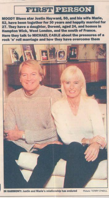 Justin Hayward and his wife Marie circa 1996