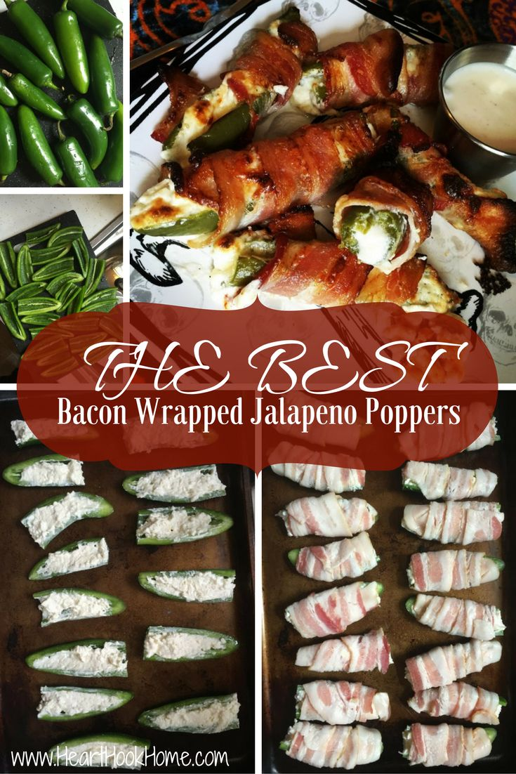 Cream Cheese Stuffed Bacon Wrapped Jalapenos http://hearthookhome.com/cream-cheese-stuffed-bacon-wrapped-jalapenos/