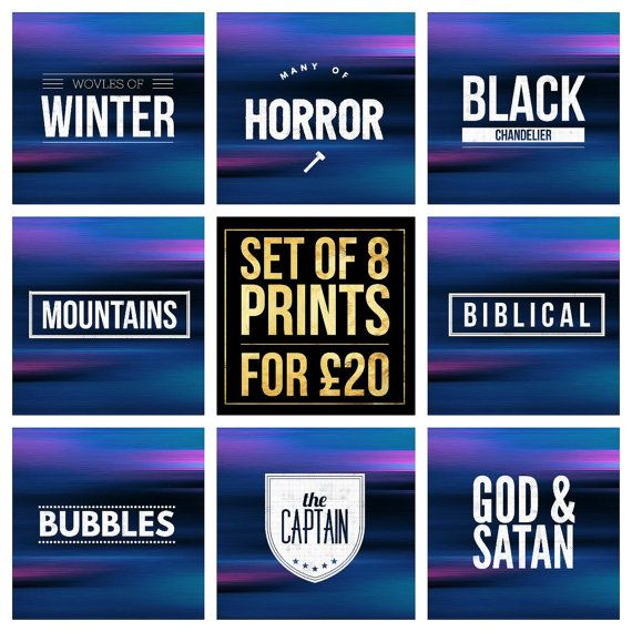 "Set of 8  Biffy Clyro Song Title Prints - Square 8x8"" Each - Quote Alt Rock Indie Pop Music Lyric Typography - Poster Wall Art Gift Mancave #biffyclyro #poster #wolvesofwinter #manyofhorror #blackchandelier #mountains #biblical #bubbles #thecaptain #godandsatan #poster"