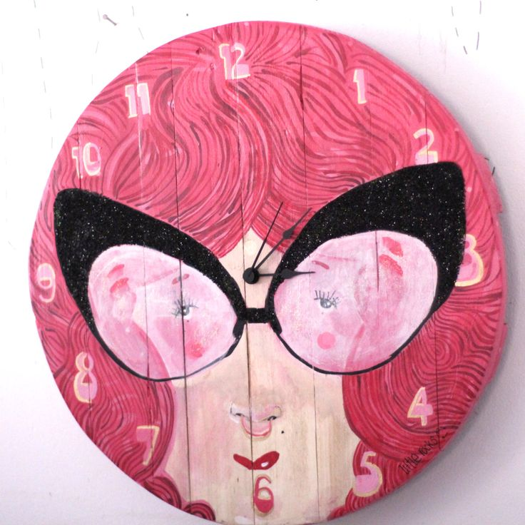 Kids pink girly wall clock hand painted with reclaimed wood pallets by littlerocksPK on Etsy