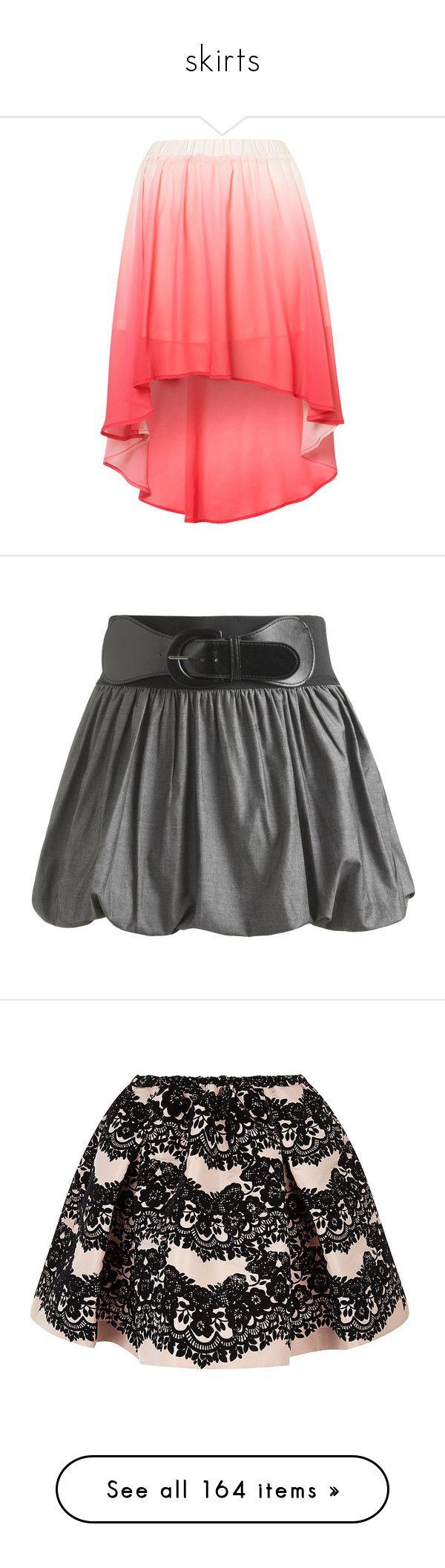 """skirts"" by yumikochan ❤ liked on Polyvore featuring skirts, bottoms, saias, topshop, ariya, dip dye skirt, pink skirt, red skirts, mini skirts and faldas"
