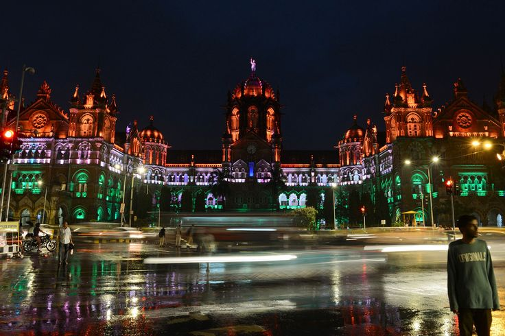 The Chattrapathi Shivaji Terminus railway station is lit in the colors of India's flag ahead of the country's Independence Day in Mumbai on August 14, 2017.