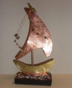 χειροποιητο καραβι μπρουτζος χαλκος ημιπολυτιμοι λιθοι 12X23-handmade boat brass and copper gemstones 12X23