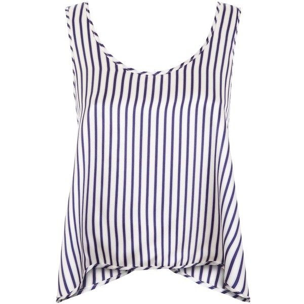 Violet & Wren - Cross Back Tank in St Kitts Stripe ($205) ❤ liked on Polyvore featuring tops, tank tops, white tank top, relaxed fit tank top, white top, striped tank and sport top