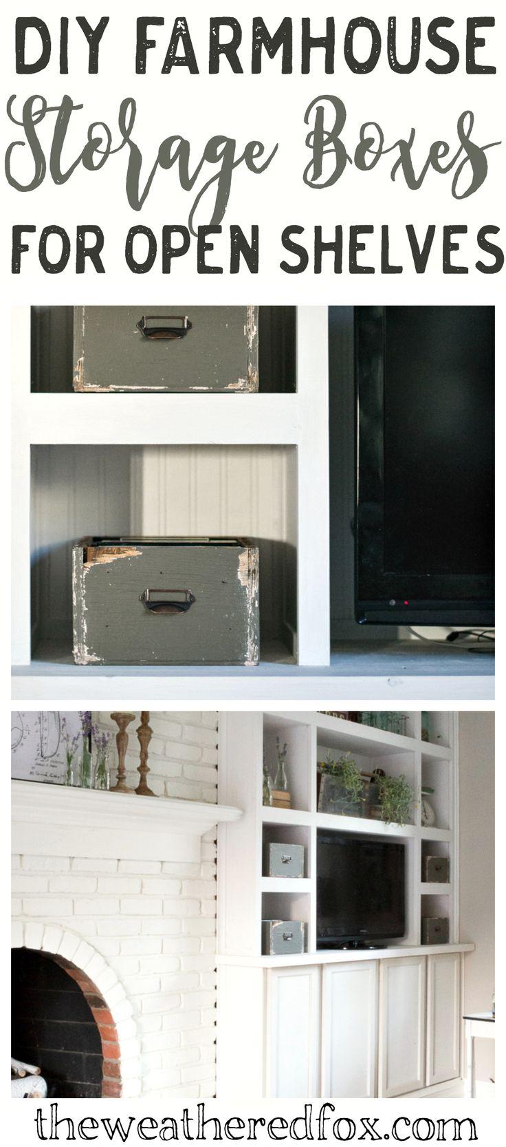 How to make farmhouse storage boxes for open shelves.
