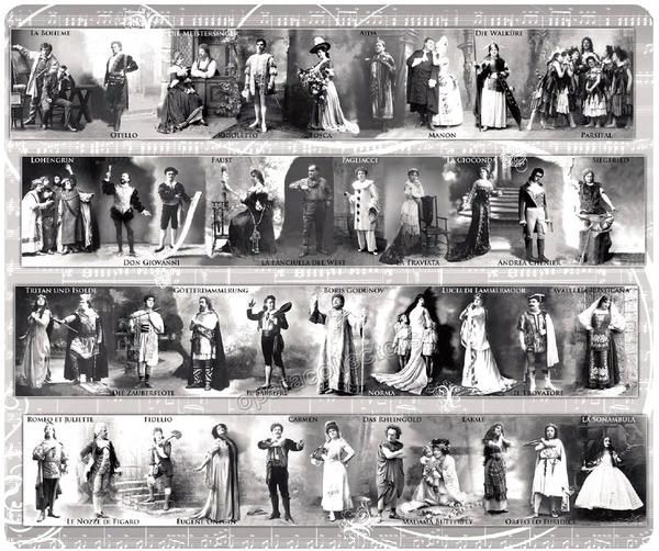 Stunningly beautiful and exclusively designed mousepad with a collage of vintage opera photos