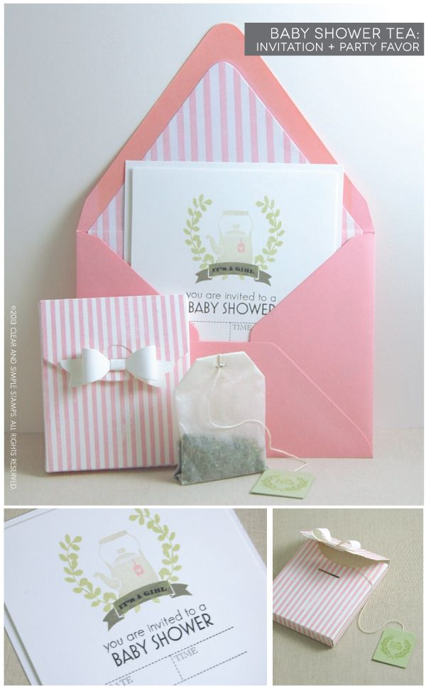 Baby Shower Tea Monogram | Clear and Simple Stamps Alpha Monogram - fully supply list on blog
