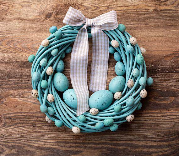 """Turquoise de couronne de Pâques & beige 11 """"-printemps pastel holiday home déco porte mur couronnes décorations oeufs oeufs nid"""
